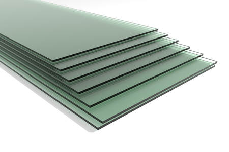 Pile of sheets of green tempered clear float glass panels - 3d render