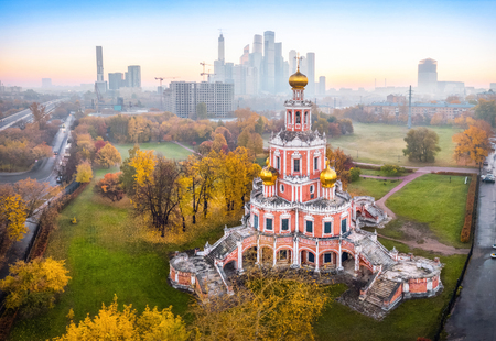 Aerial view of baroque Church of the Intercession at Fili, Moscow, Russia Imagens