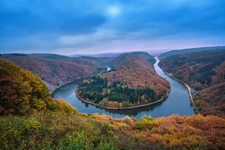 Saarschleife, Germany - famous autumn landscape with river bend in Saarland Stock fotó