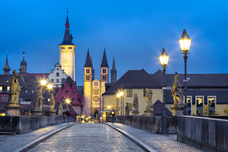 Old town of Wurzburg, Germany at dusk. View from Old Main Bridge 免版税图像