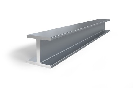 Single steel I-beam isolated on white background -  3D rendering Фото со стока