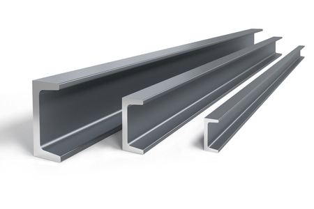 Thee steel C-beams of different size -  3D rendering