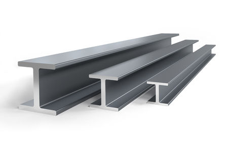Thee steel I-beams of different size -  3D rendering Imagens