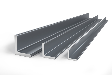 Thee steel angle bars (L-profile) of different size -  3D rendering Stock Photo