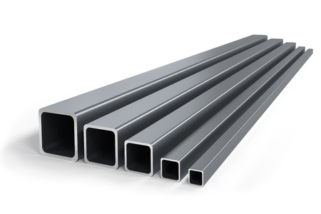 Group of square pipes of different size isolataed - 3d render