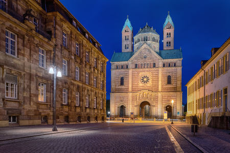 Facade of Speyer Cathedral (Dom zu Speyer) at dusk, Germany