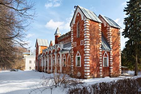 Russian pseudo-gothic architectural style building (1820s) in historic Sukhanovo estate, Moscow oblast, Russia