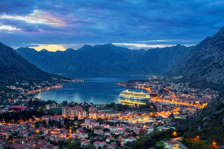Bay of Kotor at dusk, Montenegro