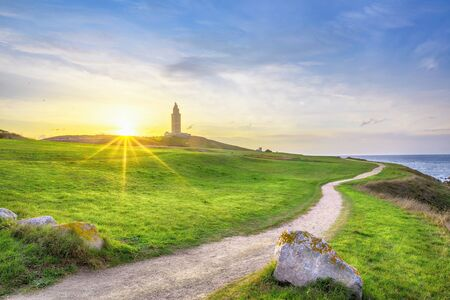 Landscape with Tower of Hercules - ancient roman lighthouse still in use, A Coruna, Galicia, Spain