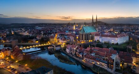 Gorlitz, Germany. Panoramic aerial view of old town at dusk with gothic Sts. Peter and Paul Church Stock fotó