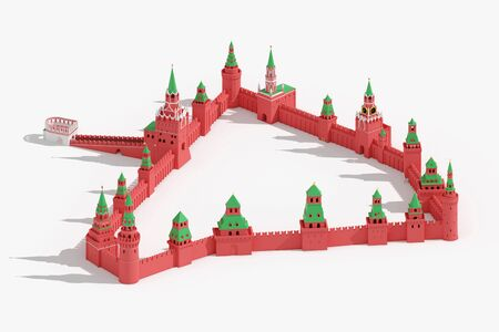 Walls and towers of Moscow Kremlin - detailed 3d schematic plan on white background