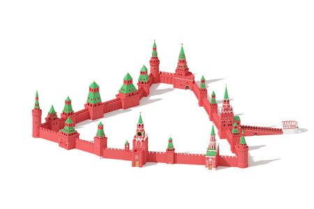 Walls and towers of Moscow Kremlin - rendered 3d aerial view