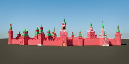 Panoramic view of Moscow Kremlin from Red Square - 3d rendered illustration Standard-Bild