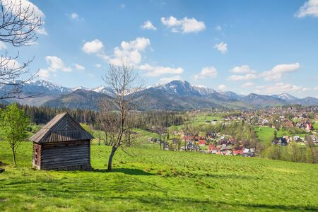 View of the Tatra Mountains from the meadow in the vicinity of Zakopane, Poland Standard-Bild