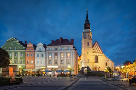 Boleslawiec, Poland. Basilica of the Assumption of the Blessed Virgin Mary and St. Nicholas at dusk