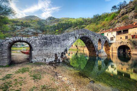 Historic Rijeka Crnojevica bridge also known as Danilo's Bridge, Monenegro Standard-Bild