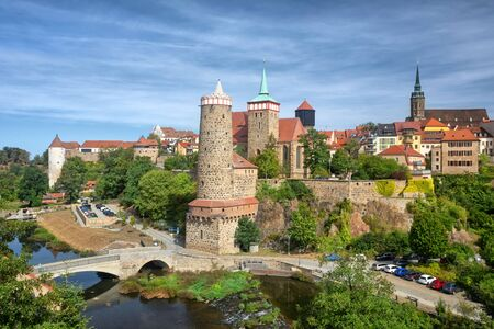 Bautzen, Germany. View of Old Town with Old Water tower (Alte Wasserkunst) and Church of St. Michael