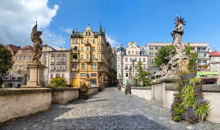 Klodzko, Lower Silesia, Poland. View on Old Town from St. John's Bridge Standard-Bild