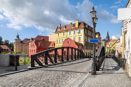Klodzko, Poland. View of Iron Bridge (Most Zelazny) and buildings of Old Town