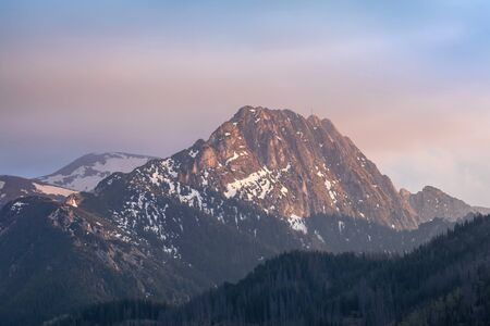 Giewont mountain in Polish Tatras - view from Nosal on sunset