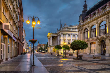 Wroclaw, Poland, View of pedestrian Swidnicka street at dusk close to Wroclaw Opera building Editorial