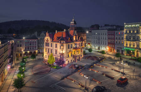 Nowa Ruda, Poland. Aerial view of Town Hall and Market Square (Rynek) at dusk Editorial