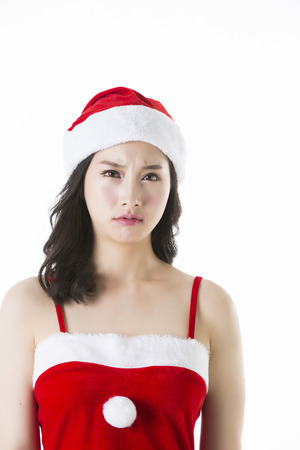 japenese: Portrait of Beautiful Asian Woman Wearing ChristmasSanta Costume