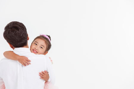 Asian Family Portrait / Isolated on White