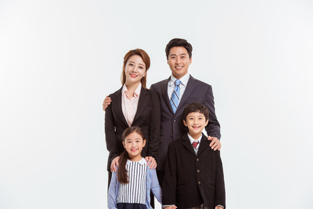 Asian Family Portrait  Isolated on White