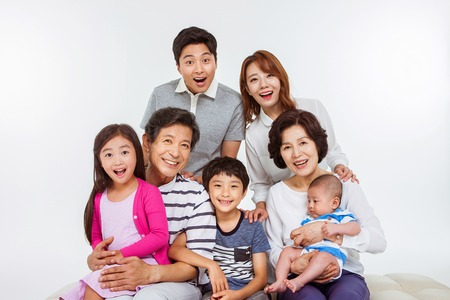 Portrait of Happy Asian Family
