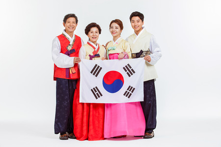 hanbok: Portrait of Asian Three Generation Family in Hanbok, Korean Traditional Clothes