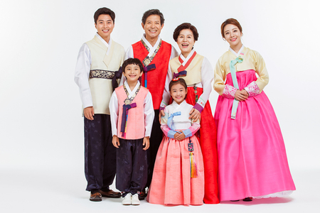Portrait of Asian Three Generation Family in Hanbok, Korean Traditional Clothes Stock Photo - 70604592
