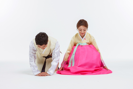 Portrait of Asian Three Generation Family in Hanbok, Korean Traditional Clothes Stock Photo - 70604595