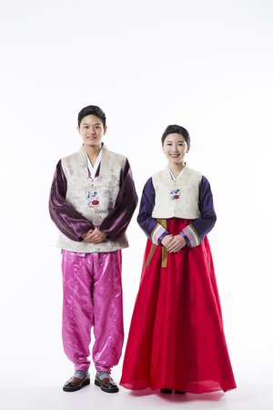 Portrait of Young Asian Couple in Korean Traditional Clothes, Hanbok