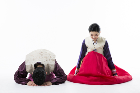 Portrait of Young Asian Couple in Korean Traditional Clothes, Hanbok Stock Photo