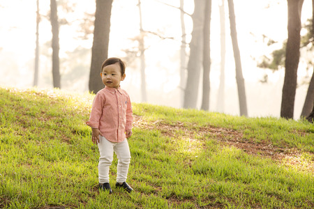 Cute Asian Boy Walking in Forest