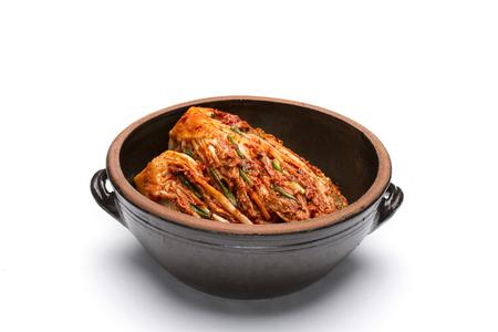 Korean Traditional Food - Kimchi (FermentedPickled Cabbabe,Asian Cuisine)  Isolated on White