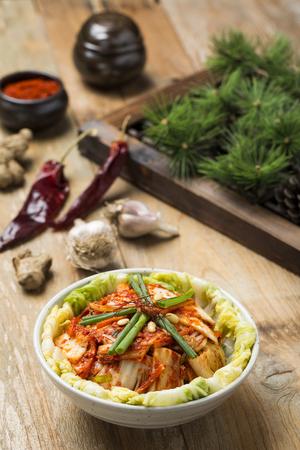 pinecones: Korean Traditional Food - Kimchi (FermentedPickled Cabbabe,Asian Cuisine) Stock Photo