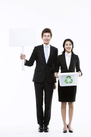 wastes: Young Asian Couple  Various Campaigns Concept Stock Photo