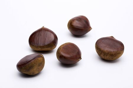 A Few Chestnuts Scattered, Isolated on White