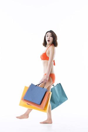 Portrait of a Beautiful Asian Girl in Bikini Stock Photo