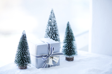 miniature christmas decorations in white stock photo 68517123