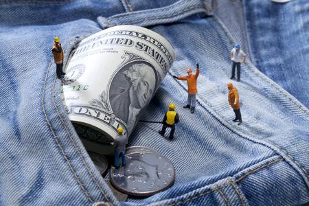 money in the pocket: American pocket money Foto de archivo