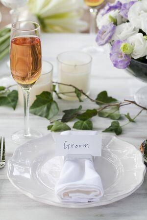An Outdoor Wedding Banquet Set-up Stock Photo