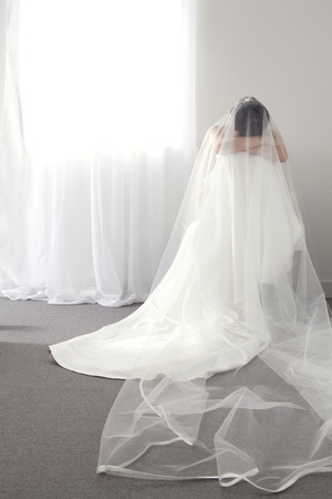 head down: A Bride With Her Head Down