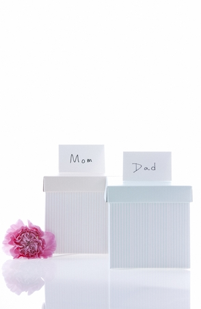 mothersday: Gift Boxes In White Background Stock Photo