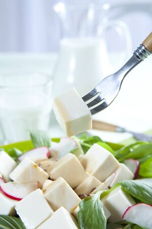 A Big Plate Of Healthy Tofu Salad Stock Photo