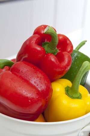 pimento: Bell Peppers In A Bowl Stock Photo