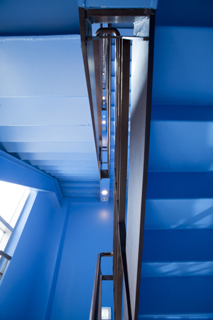 no entrance: Emergency stairs, painted in blue Stock Photo