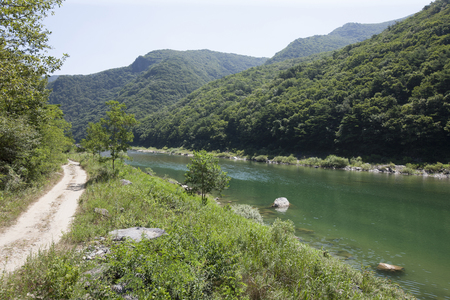 South Korea,  Gangwon-do,  Jeongseon-gun,  Dong River, Stock Photo